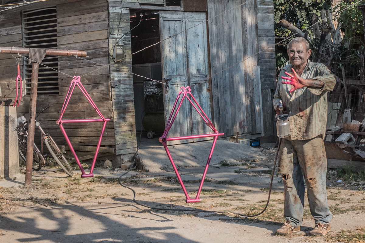 We found this guy painting bike frames in his front yard