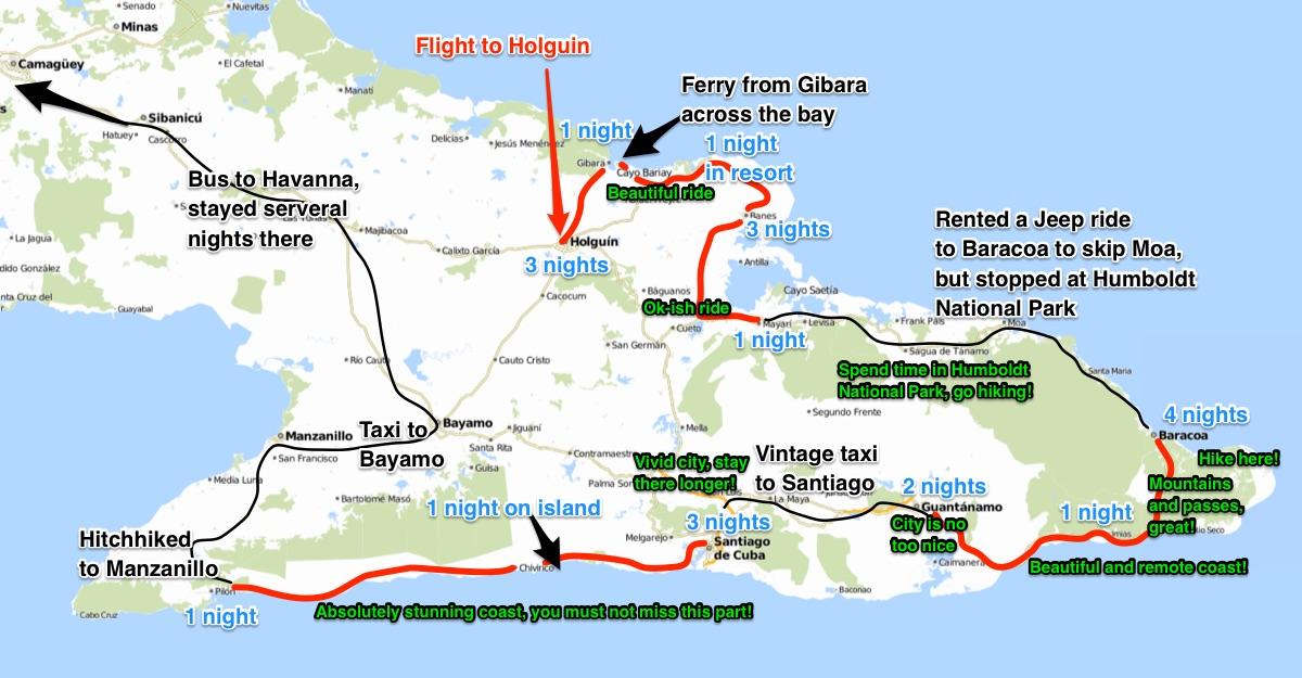 Cuba cycling map 1